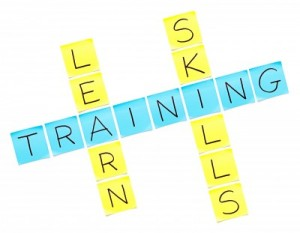 training-crossword-puzzle-made-with-sticky-notes-on-white-background